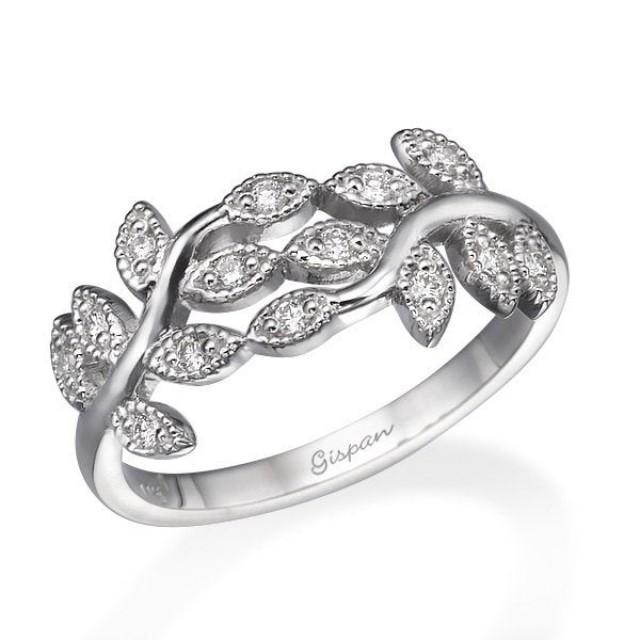 Art Deco Engagement Ring, Wedding Ring, Cocktail Ring, Leaf Ring, Diamond Ring, 14k White Gold Ring, Woman Ring, Promise Ring