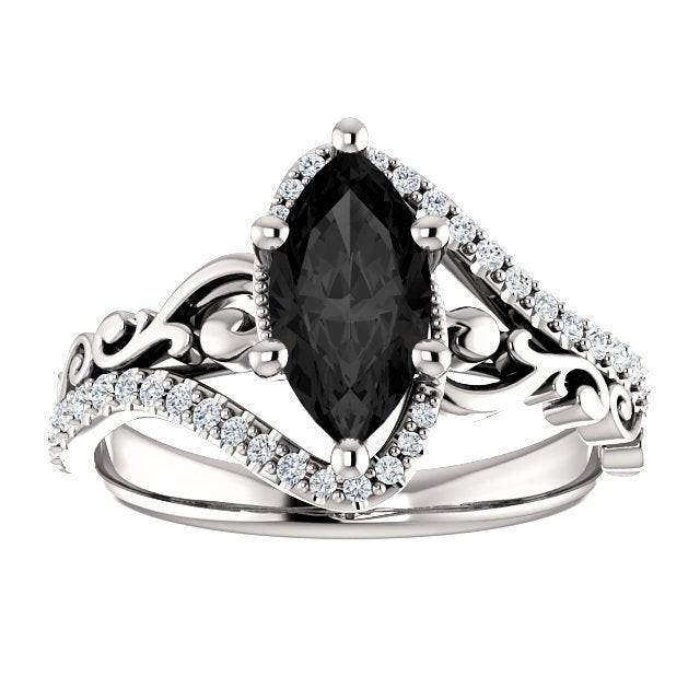 Sculptural Black Marquise Engagement Ring 14k White Gold, Scroll Marquise Black Onyx Ring, Victorian Marquise Black Diamond Ring, Art Deco