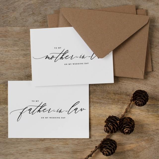 To My Mother-In-Law, To My Father-In-Law On My Wedding Day, In Laws Wedding Card, Thank You Card, Parents In Law Wedding Cards, Gift, K6