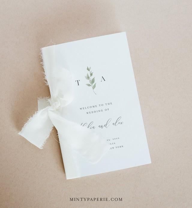 Minimalist Greenery Wedding Program Template, Order of Service, Catholic Ceremony, INSTANT DOWNLOAD, 100% Editable, Templett #0004B-141WP