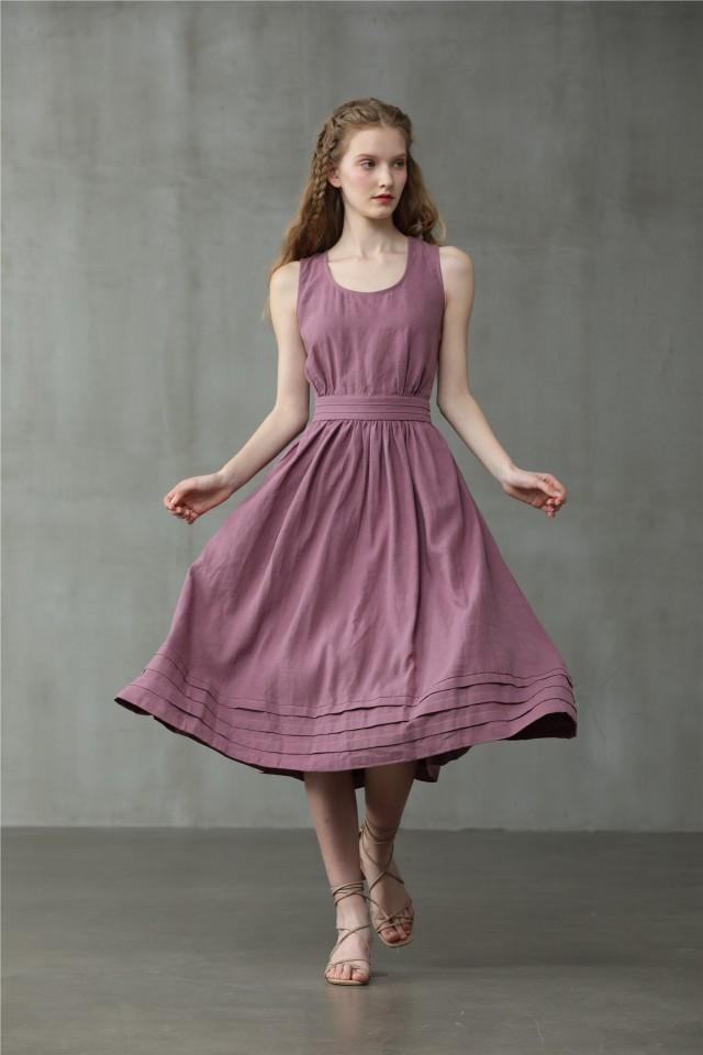 cross back linen dress, midi linen dress, cocktail dress, sleeveless dress, wedding dress