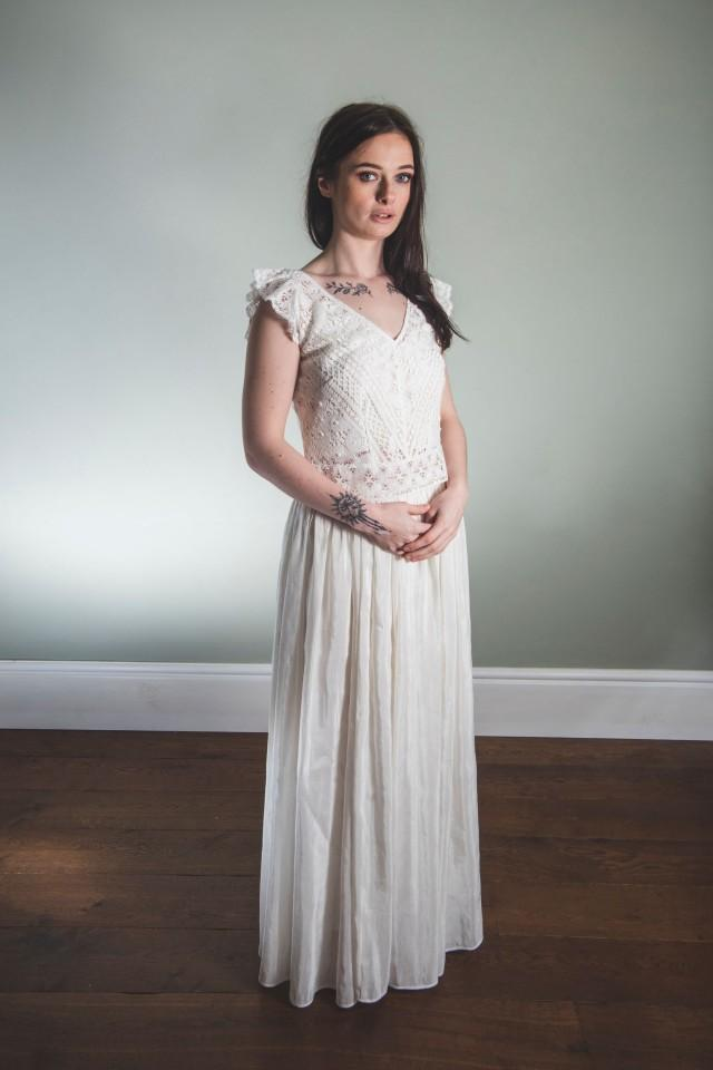 Bridal Skirt - Long skirt in hemp silk, casual wedding, wedding separates, eco wedding skirt, hemp silk skirt, gathered waist bridal skirt