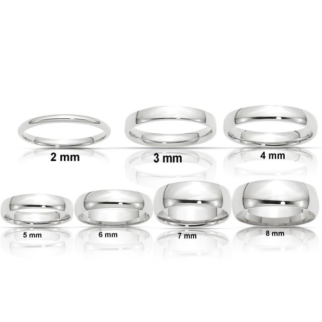 REAL Comfort Fit 14K Solid White Gold 2mm 3mm 4mm 5mm 6mm 8mm Men's and Women's Wedding Band Midi Thumb Toe Ring Sizes 4-14. Solid 14k Gold