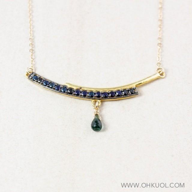 Gold Black Spinel Bar Necklace, Green Tourmaline, Bar Pendant