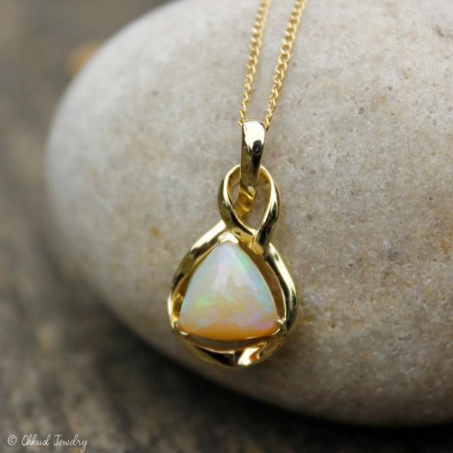 Milky White Opal Necklace, Australian Opal Necklace, Pyramid Opal, 10K Gold Setting