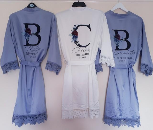 Personalised Bridesmaid Robes, Lace Bridesmaid Robes, Bridesmaid Gifts, Bridal Robe, Bridal Party Robes, Bride Robe, Cotton Robe, Lace Robe