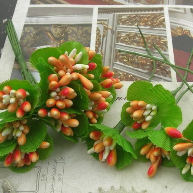 6 pcs Beautiful Simulation Of Berries Mini  Flowers -Orange