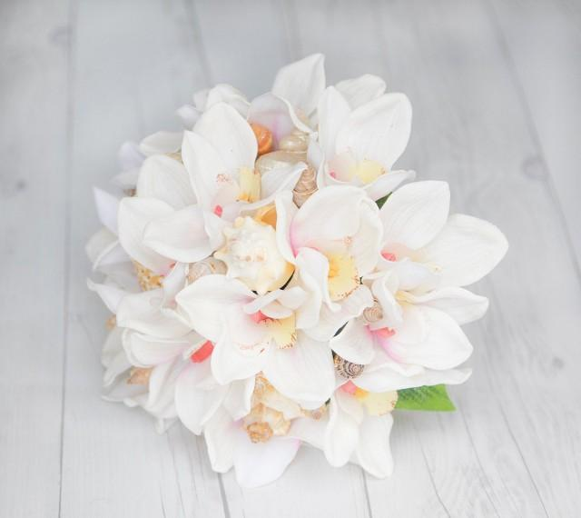 Beach Wedding Bouquet, Seashell Bouquet, Orchid Bouquet, Beach Bouquet, Seashell Wedding Bouquet, Blush Bouquet, Wedding Shell Bouquet