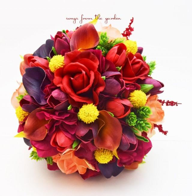 Plum Red Orange Bridal Bouquet Calla Lilies Tulips Roses Groom's Boutonniere - Add Flower Crown Wedding Arch Flowers Centerpiece & More!