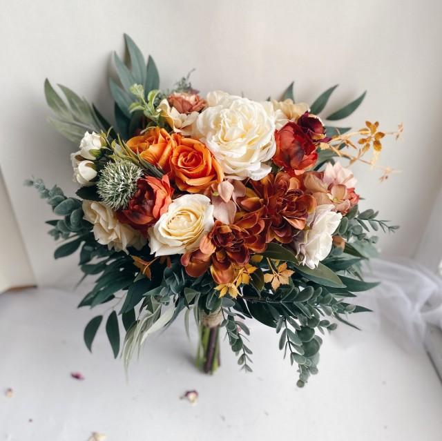 Bridal bouquets burnt orange, faux wedding bouquet, bridesmaid bouquets, rust bouquets, brown bouquets, orange silk bouquets wedding