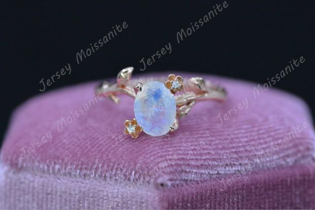 Rose Gold Plated Silver Floral Style Natural Moonstone Ring, 2ct Oval Cut Moonstone Ring, Rose Gold Twig Moonstone Ring