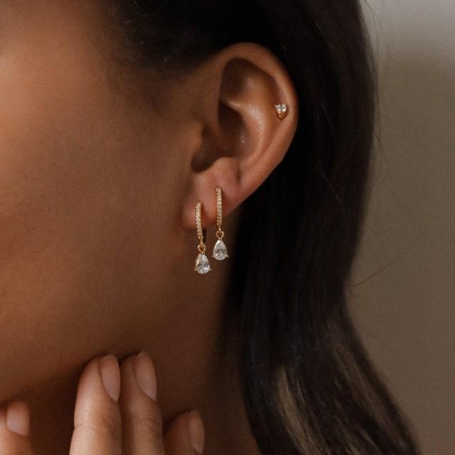 HANNAH Earrings by CaitlynMinimalist • Pave Huggie Hoops • Diamond Dangle Earrings • Perfect Wedding Earrings, Bridal Earrings • ER117