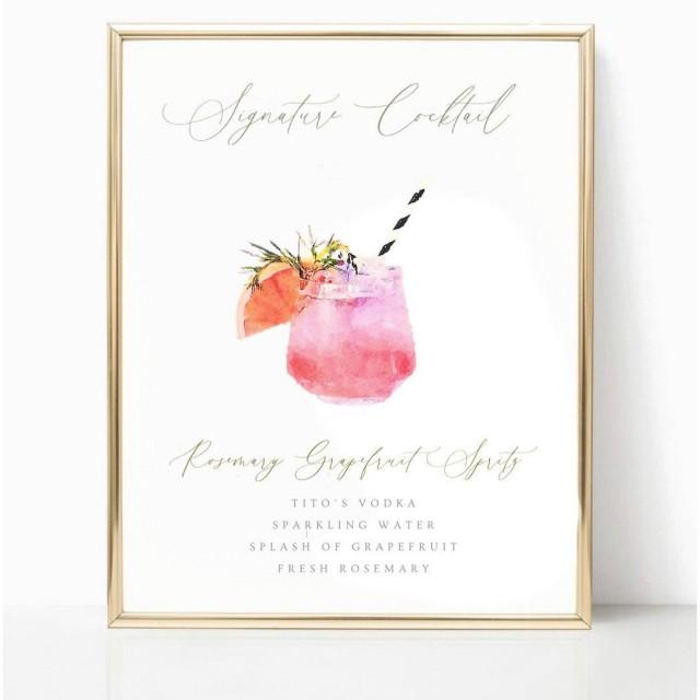 Watercolor Signature Cocktail Sign
