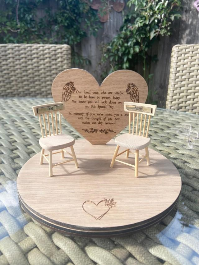 wedding in memory of missing person memorial chairs miniature engraved seats missing family member