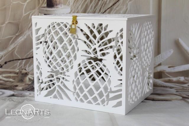 Pineapples Wedding Card Money Box-Wedding card holder with slot and lock-Tropical Beach Sea wedding-Lockable card money holder-Hawaii box