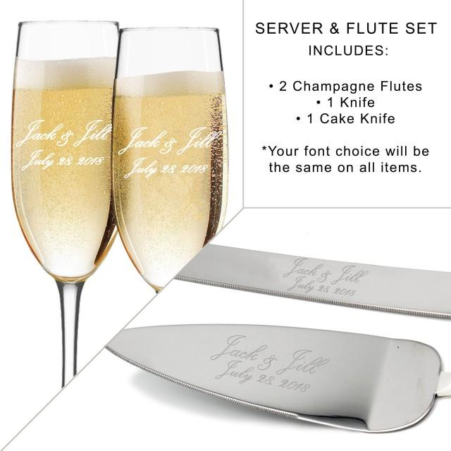 Toasting Flutes and Cake Server Sets, Personalized Wedding Flute and Cake Serving Set, Custom Engraved Flute and Cake Set