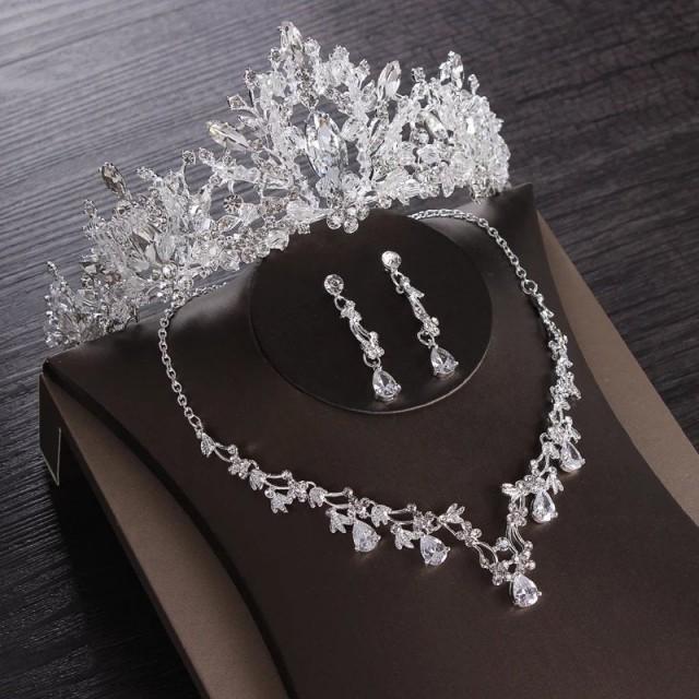 Luxury Heart Crystal Bridal Jewelry Sets Wedding Cubic Zircon Crown Tiaras Earring Choker Necklace Set African Beads Jewelry Set,frozen