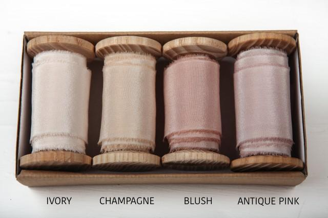 Hand torn ribbon, Hand dyed silk ribbon, Blush wedding ribbon with raw edge