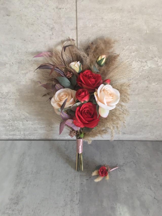 """Dark Red Burgundy & Ivory Bouquet With Pampas Grass 12""""/ Boho Vintage Wedding Bouquet/ Bridal Bridesmaid Bouquet/ Wedding Centerpiece"""