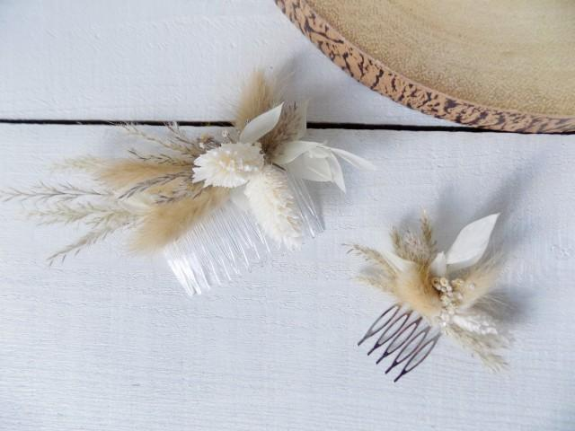 Dried flower hair clip hair slide bridal hair accessories pampas grass preserved ruscus wedding hair comb