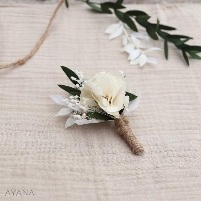 """Buttonhole """"Merite"""", boho wedding preserved flower accessory, flower brooch for groom, witness and groomsmen gift, dried and preserve flower"""