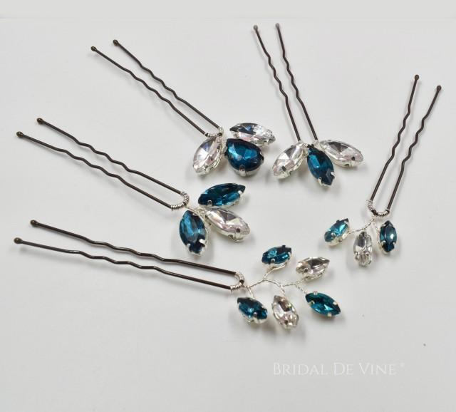 Bridal Bridesmaids Hair Pins, Rhinestone Hair Accessories Peacock Blue Teal, Emerald Green