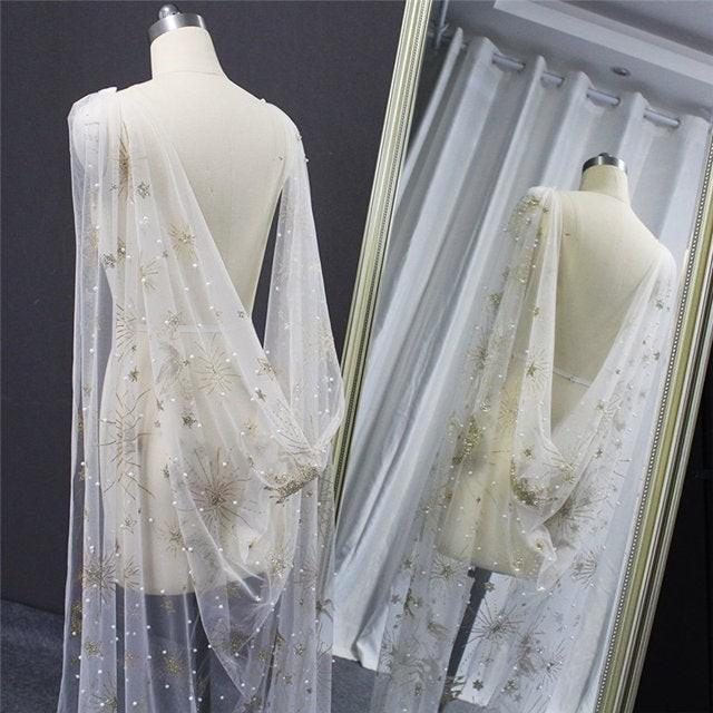 Gold Glitter Star and Pearl Cape Veil, Tulle Wedding Cape, starburst wedding Bridal Veil,soft sheer wedding cape,long chapel veil cape cloak