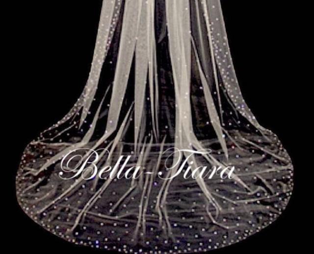 cathedral crystal veils, chapel crystal wedding veil, royal crystal bridal veil, crystal cathedral wedding veil with blusher