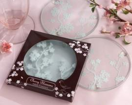 Wedding - Frosted Glass Cherry Blossoms Coasters