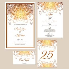 Wedding - Reserved for Nishi - Ornate Ethnic Wedding Invitations - Balance on Reception paper order