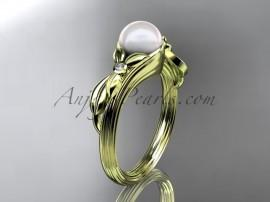 Wedding - Unique 14kt yellow gold diamond floral pearl engagement ring AP324