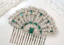 Wedding - Original 1920s Emerald Green Rhinestone Hair Acessory or Sash Brooch, Antique Art Deco Pave Bridal Fan Pin or Hairpiece Vintage Wedding Comb