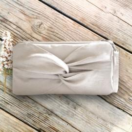 Wedding - Ivory Linen Knotted Wristlet - Rustic Wedding Clutch - More Colors Available