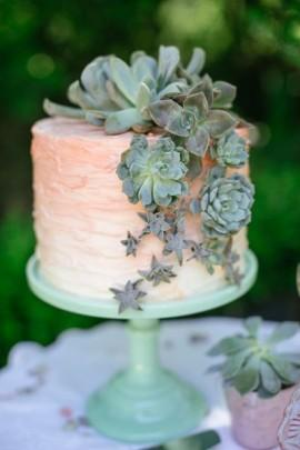 Wedding - Gorgeous Ombre Wedding Cake With Succulents