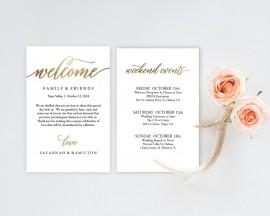 Wedding - Wedding Welcome Bag Note, Gold Wedding Calligraphy, Welcome Bag Letter, Printable Wedding Itinerary, Agenda