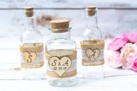 Wedding - Sand Unity Set Sand Ceremony Rustic Sant Unity Ceremony Personalized Jars Bottles