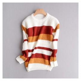 Wedding - Vogue Solid Color Slimming Long Sleeves Stripped Knitted Sweater Sweater - Discount Fashion in beenono