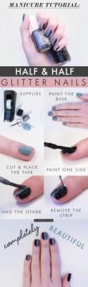 Manicure Monday: Half & Half Glitter Manicure