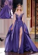 New Long Purple Applique Formal Party Evening Prom Cocktail Dresses Wedding Gown
