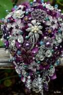 Cascading Purple And Teal Wedding Bouquet-- Made To Order Brooch Bouquet