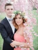 Glam Engagement Photos Amongst the Cherry Blossom Trees: Brittany + Michael