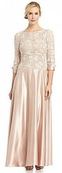 JS Collections Lace & Satin Gown