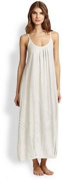 Donna Karan Asymmetrical Pintucked Cotton Jersey Gown