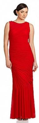 JS Collections Mesh Illusion Ruched Gown