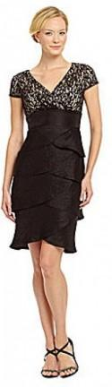 London Times Cap-Sleeve Lace Dress