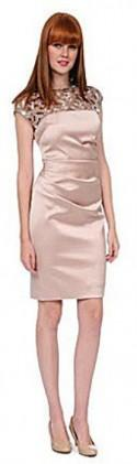 Kay Unger Sequined Lattice-Yoke Satin Sheath Dress