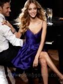 Grape Satin V-neck A-line Knee Length Bridesmaid Dress with Side Pockets