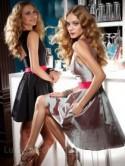 Opal Taffeta A-line Knee Length Boat Neck Bridesmaid Dress with Hot Pink Ribbon