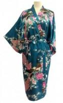 On Sale Kimono Robes Bridesmaids Silk Satin Teal Colour Paint Peacock Design Pattern Gift Wedding dress for Party Free Size