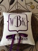 Monogram Embroidery Ring Bearer Pillow
